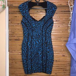 Guess Blue and Black Leopard Mini Dress